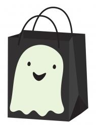 Nachtleuchtende Happy Halloween Süßigkeiten-Tasche Gespenst schwarz-weiß 22 cm
