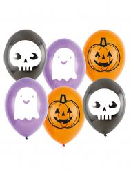Niedliche Geist-Luftballons Partydekoration-Halloween 6 Stück violett-weiss 23cm