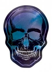 Schädelform-Pappteller Boneshine Fever Halloween-Zubehör 8 Stück schwarz-blau-violett