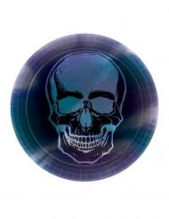 Schimmernde Skelett-Pappteller Boneshine Fever Partydeko-Halloween 8 Stück schwarz-blau-violett 23 cm