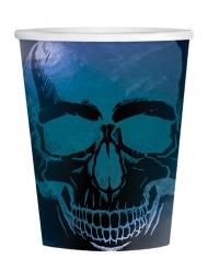 Irisierende Skelett-Trinkbecher Boneshine Fever Partydekoration für Halloween 16 Stück schwarz-blau 250 ml