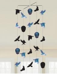 Boneshine Fever Skelett-Mobilee für Halloween Raumdekoration schwarz-blau 1 m x 40 cm