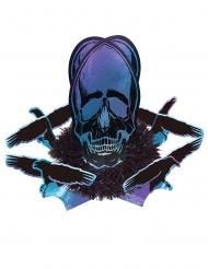 Tischdeko Boneshine Fever mit Raben und Totenschädel Partydeko schwarz-violett-blau 35x27 cm