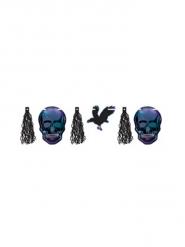 Girlande Boneshine mit Raben und Totenköpfen blau-grau-schwarz