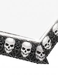 Unheimliche Totenkopf-Tischdecke Halloween-Deko schwarz-weiß 137 x 259 cm