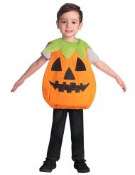 Klassisches Kürbiskostüm für Kinder Halloween-Verkleidung orange-schwarz-grün