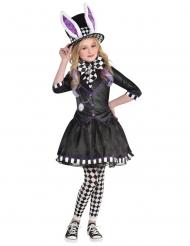 Hutmacher-Mädchenkostüm für Halloween und Fasching schwarz-weiss-violett