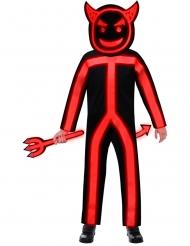 Phosphoreszierendes Teufel-Kostüm für Kinder Halloween schwarz-rot