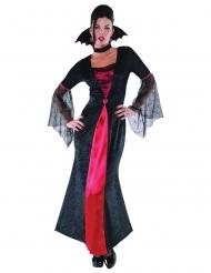 Elegantes Vampirkostüm für Damen Halloween-Verkleidung schwarz-rot