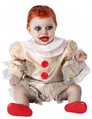 Schauriges-Clownkostüm für Babys Halloween-Kostüm beige-weiss-rot