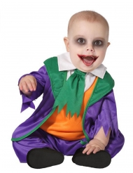 Verrücktes Clownkostüm für Babys Halloween-Kostüm lila-orange-grün
