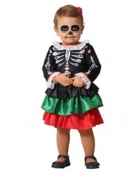 Dia de los muertos-Skelettkostüm für Mädchen Kostüm für Kleinkinder bunt
