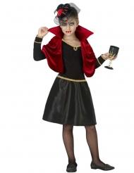 Kleine Vampirin-Mädchenkostüm für Halloween schwarz-rot-gold