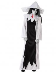 Zombie-Nonne-Kostüm für Mädchen Halloweenksotüm schwarz-weiss
