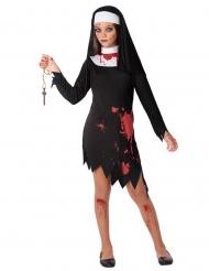 Blutiges Nonnen-Kinderkostüm Halloween-Kostüm schwarz-weiss-rot