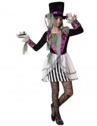 Dunkles Hutmacherin-Kostüm für Mädchen Halloweenkostüm schwarz-weiss-violett