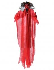 Teuflische-Dekofigur mit Leuchtfunktion Partydeko für Halloween rot-schwarz 190 cm