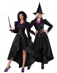Sehr elegantes Hexen-Kostüm für Damen Halloween-Kostüm schwarz-violett