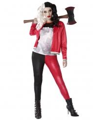Harlekin-Assassinin Damenkostüm kostüm für Halloween schwarz-rot