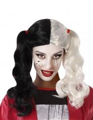 Assassinen-Perücke für Damen Halloween-Accessoire schwarz-weiss