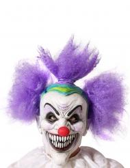 Fiese Horrorclown-Maske mit scharfen Zähnen Halloween-Accessoire weiss-violett