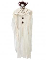 Spukender Horrorclown Halloween-Hängedeko weiß-schwarz-rot 130 cm