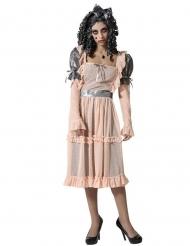 Porzellan-Puppe Damenkostüm Halloweenkostüm beige