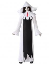 Schauriges Geister-Nonne-Kostüm für Damen Halloweenkostüm schwarz-weiss