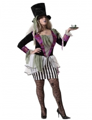 Verrücktes Hutmacherin-Kostüm für Damen Halloweenkostüm schwarz-weiss-violett