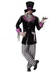 Düsteres Hutmacher-Kostüm für Herren Halloweenkostüm schwarz-weiss-violett