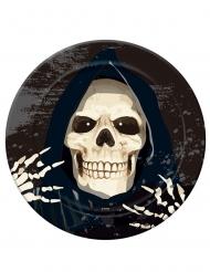 Skelett-Sensenmann-Pappteller für Halloween Tischdeko 6 Stück