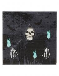 Skelett-Sensenmann-Servietten Halloween-Tischdeko 20 Stück schwarz 17x17 cm