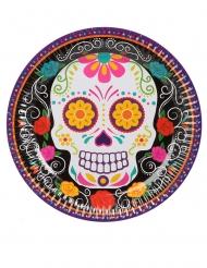 Tag der Toten-Pappteller Party-Tischdeko für Halloween 6 Stück bunt 23 cm