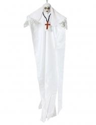 Gespenstische Nonne Halloween-Deko mit Leuchtfunktion Partyzubehör weiss 137cm