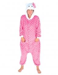 Süsses Katzenkostüm für Erwachsene Katzen-Overall rosa-weiss