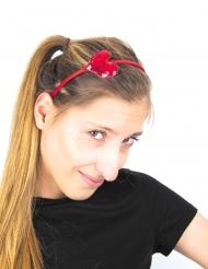Herzchen-Haarreif für Damen Accessoire für Fasching rot