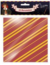 Magische Zauberer-Servietten Party-Tischdeko 12 Stück rot-gelb 33x33cm