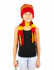 Schal und Mütze für Kinder Accessoire-Set gestreift rot-gelb