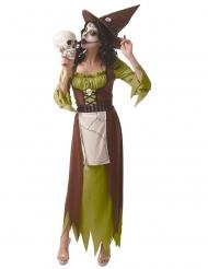 Giftiges Hexenkostüm für Damen Halloween-Kostüm grün-braun-weiss
