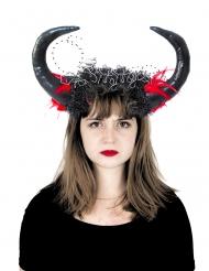 Hörner-Kopfschmuck für Damen Accessoire für Halloween schwarz-rot