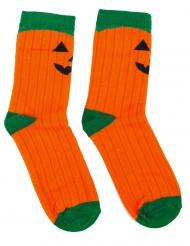 Stilvolle Kürbis-Socken für Halloween Accessoire für Erwachsene orange-grün