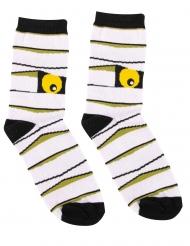 Monstermäßige Socken für Erwachsene Halloween Mumien-Strümpfe schwarz-weiss-gelb
