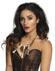 Mystische Voodoo-Halskette für Erwachsene Knochen-Schmuck braun-weiss-schwarz
