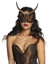 Verführerische Steampunk-Maske mit Hörnern für Erwachsene bronzefarben