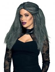 Voluminöse Hexen-Perücke für Damen Halloween-Accessoire dunkelgrau