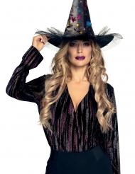 Verzauberter Hexenhut Accessoire für Damen Halloween schwarz-bunt