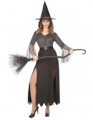 Finsteres Hexen-Kostüm Halloween-Verkleidung für Damen grau-schwarz