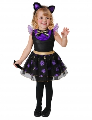 Süßes Halloween-Kätzchen Kinderkostüm für Mädchen schwarz-lila