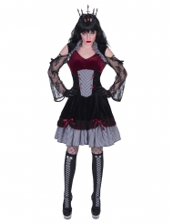 Elegantes Gothic-Kostüm für Damen rot-schwarz-weiß