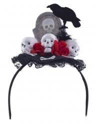 Grabstein-Haarreif und Blumen und Krähe für Halloween undTag der Toten grau-schwarz-rot